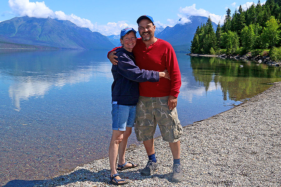 Susan and Dave in Glacier National Park, 2019